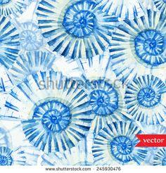 sea, ocean, pattern, watercolor shells, background