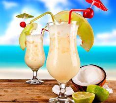 Piña colada sem álcool 1 fatia de abacaxi 50 ml de leite de coco 2 colheres (sopa) de leite condensado 50 ml de água, ou 1 xícara pequena de suco de abacaxi  Bata no liquidificador todos os ingredientes, e sirva em um copo decorado com uma fruta presa à borda e um canudo. O drink fica muito mais refrescante se os ingredientes estiverem devidamente gelados na hora do preparo.