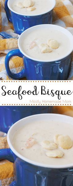 Seafood Bisque – Seafood Bisque is delicious and easy! Made with shrimp, crabmeat, cream soups, half and half, and seasonings. Perfect for a chilly day! Healthy Soup Recipes, Potato Recipes, Chicken Recipes, Herb Recipes, Recipe Chicken, Seafood Bisque Recipe Easy, Seafood Salad, Seafood Soup, Fresh Seafood