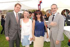 El embajador de la Unión Europea, Tim Torlot; Jennifer Steil, Ana María Pacheco y el embajador Ángel Vázquez.