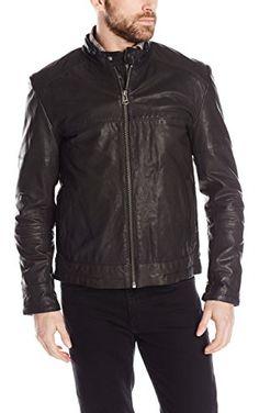 Cole Haan Men's Leather Moto Jacket, Black, Large ❤ Cole Haan Men's Outerwear