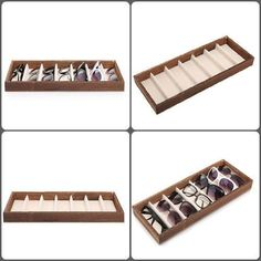 White Fabric Interior with Sleek Look. can Hold 18 pairs of Glasses, Sunglasses or other Eyewear. Grid size: x 6 x x x (L x W x H). 1 x Sunglasses Display Box (Glasses are not included). Black Box, Display Boxes, White Fabrics, Eyeglasses, Slot, Grid, Storage, Interior, Travel