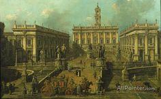 Giovanni Antonio Canal (called Canaletto),View Of Rome The Piazza Del Campidoglio And The Cordonata oil painting reproductions for sale