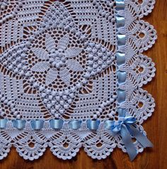 Light blue heirloom christening baby blanket by LaceForYou on Etsy