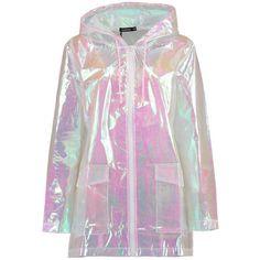 Boohoo Freya Mermaid Holographic Rain Mac (320 DKK) ❤ liked on Polyvore featuring outerwear, coats, jackets, tops, rain coat, puff sleeve coat, mac coat, puffer coat and puff coat