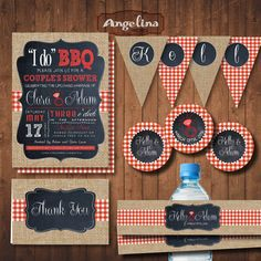 I do BBQ. COUPLES SHOWER Bulrap Invitation Pack. by AngelinaWorks
