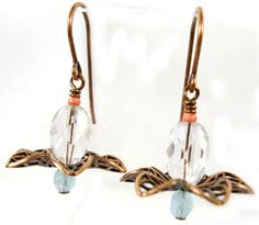 Filigree earrings made with lotus-flower filigree and beads