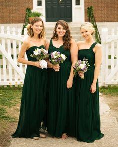 Bridesmaids in emerald J.Crew  dresses