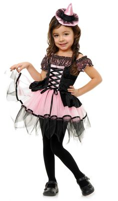 Black and Pink Witch Child Costume -X-Small (4/6) This costume includes a dress and a mini witch hat. Does not include broom, tights, or shoes.  Color: Black/Pink  Material: 100% Polyester  Celebration: Halloween