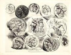 Artwork by Eugène Delacroix, Feuilles de médailles antiques, Made of lithograph