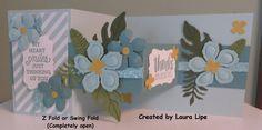 Z-Fold or Swing Fold Card, completely open.  Stampin' Up! Botanical Builder Framelits dies.