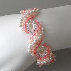 Peyote braceletPearl Blush pale peach pink by PacificJewelryDesign