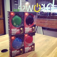 Come and check out all these awesome colors of the JBL Micro Wireless portable speaker! #blue#green#red#black#jbl