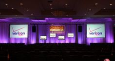 Two Rear Projection Screen Set with 4 Additional hanging displays together with a custom event Sign.