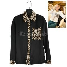 Korea Women Leopard Blouse Button Down Long Sleeve Chiffon Loose Blouse Top