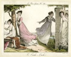 Plate 80: a group of five ladies playing hide-and-seek in a walled garden.  July 1815  Hand-coloured etching