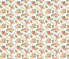 sprigs and blooms // coral fabric by ivieclothco on Spoonflower - custom fabric