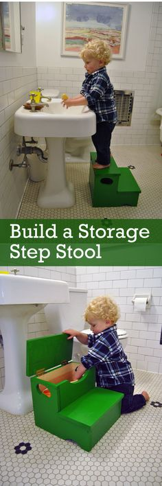 green diy kids stool with built-in bath toy storage Bath Toy Storage, Storage Stool, Storage Hacks, Diy Storage, Storage Ideas, Diy Organization, Storage Solutions, Built In Bath, Space Saving Bathroom