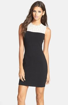 Needle & Thread Lace Yoke Jersey Body-Con Dress available at #Nordstrom