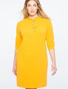 Ruffle Collar Zip Shift Dress