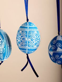 Light Blue Pysanka Chicken Egg Ornament with ribbon
