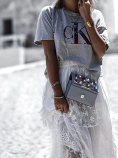 Fendi bag | Calvin Klein shirt | bohemian skirt