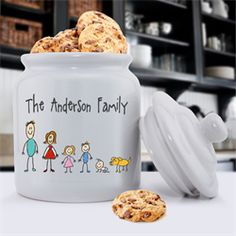 Personalized family cookie jar. Such a nice idea as a holiday gift. Can put cookies in it and gift it. Can be used for sugar or flower or other things, too. Good for housewarming, too.