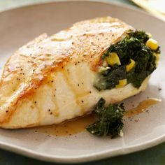 Spicy Kale and Corn Stuffed Chicken Breasts-substitute kale for spinach!