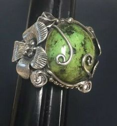 Trending Handmade Jewelry Green Crackle Quartz Sterling Silver Overlay Ring Size 8 US