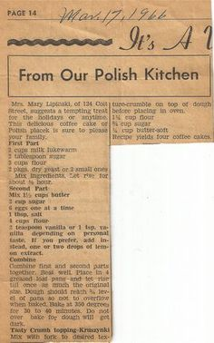Keeping Polish Traditions Alive: Favorite recipes from the St. Stans Polish Kitchen as submitted by friends & parishioners Slovak Recipes, Ukrainian Recipes, Czech Recipes, Hungarian Recipes, Old Recipes, Russian Recipes, Vintage Recipes, Cake Recipes, Cooking Recipes