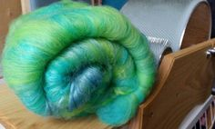 Gill-Man - Carded Batt / Merino tussah viscose angelina. 125 grams / 4.4 oz by UndercoverOtterYarn from Undercover Otter. Find it now at http://ift.tt/2m95z33!