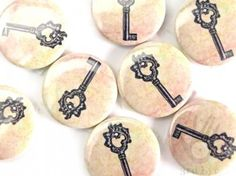 3rd Eye, Vintage Keys, Button Badge, Badges, Buttons, Pink, Decor, Decoration, Badge