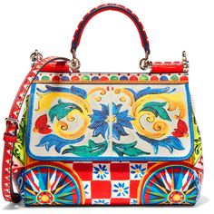 Dolce & Gabbana Sicily small printed textured-leather shoulder bag ($2,740) ❤ liked on Polyvore featuring bags, handbags, shoulder bags, red, print handbags, mini purse, pattern purse, shoulder bag purse and print purse