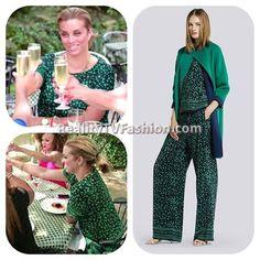 #RobynDixon's Green & Black Printed Top & Shorts #RHOP