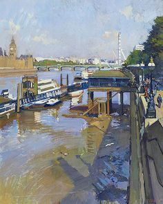 Lambeth Pier - Luke Martineau British Oil on Canvas x Landscape Paintings, Landscapes, London Painting, Bridge Painting, Greater London, London Art, Urban Landscape, Lighthouses, Cool Artwork