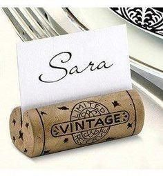 These Cork Place Card Holders are authentic looking wine cork place card holders - perfect for weddings or other large gatherings. The Got Cork Place Card Holder captures the essence of any wine lover Wine Craft, Wine Cork Crafts, Wine Bottle Crafts, Wine Bottles, Crafts With Corks, Cork Table, Christmas Place Cards, Wine Cork Projects, Cork Art