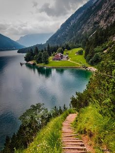 hiking/jogging at Lake Achensee in Austria