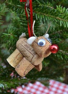 Reindeer Ornament made of corks