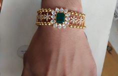 Stunning arm band or bracelet studded with polki and emeralds. Arm band with gold ball chains. Gold Bangles Design, Gold Earrings Designs, Gold Jewellery Design, Cz Jewellery, Silver Bangle Bracelets, Silver Jewelry, Diamond Bangle, Diamond Rings, Beaded Bracelets
