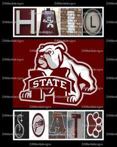 Mississippi State Hail State Framed Alphabet by DAMartndesigns, $35.00