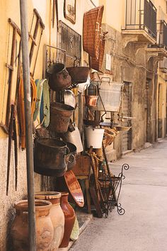 Street with antique shop in Trapani, Sicily