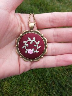 Round Pendant Bronze Chain Necklace, Pink Flower Necklace, Romantic Jewelry by RedWorkStitches on Etsy