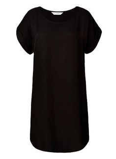 100% Viscose Jacquard Dress. Comfortable fitting silhouette features a scoop neck, short sleeves with rolled cuffs in an all over jacquard fabrication. Available in Black as seen below.