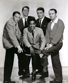 The Rat Pack - Frank Sinatra, Dean Martin, Peter Lawford, Joey Bishop and seated Sammy Davis, Jr.