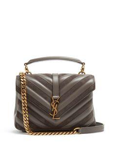 Saint Laurent CollÈge Medium Leather And Suede Shoulder Bag In Dark Grey Suede Tote Bag, Tote Bags, Tote Purse, Tote Handbags, Prada Handbags, Fashion Handbags, Leather Handbags, Saint Laurent Bag, Brown Leather Purses