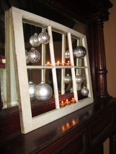 Handmade Christmas Crafts and Decorations - Recycle an old window into a shabby chic Christmas tree ornament display