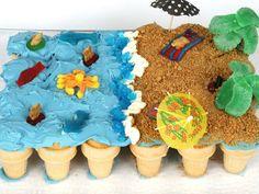 Vanilla Cake Mixes, Vanilla Frosting, Cupcake Recipes, Cupcake Cakes, Cup Cakes, Dessert Recipes, Fruit Slices Candy, Beach Cupcakes, Giant Cupcakes