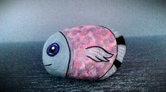 Hand painted stone fish painted garden rock by Moodstones on Etsy