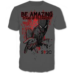 Be Amazing SU2C Men's T-Shirt    Be amazing and wear this exclusive SU2C Spider-Man t-shirt, and take a stand against cancer. This short sleeve shirt is made of 100% preshrunk cotton, available in charcoal gray. Sizes S-2XL.   $12.49
