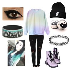 Pastel Emo Outfit by mrosep on Polyvore featuring polyvore, fashion, style, Frame Denim, YIN and clothing